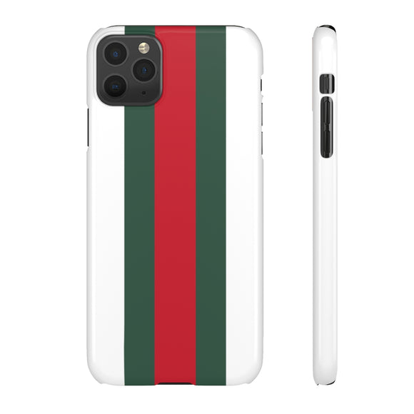 GREEN/RED STRIPE - WHITE PHONE CASE