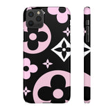 XL PINK FLOWERS BLACK PHONE CASE