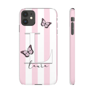 PERSONALISED -  NAME -  PINK STRIPE BUTTERFLY PHONE CASE