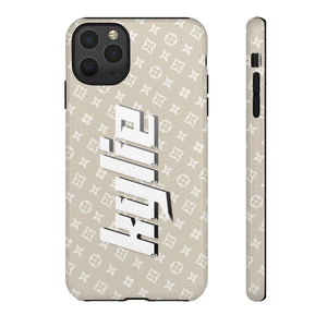 PERSONALISED - NAME -  BEIGE PATTERN PHONE CASE