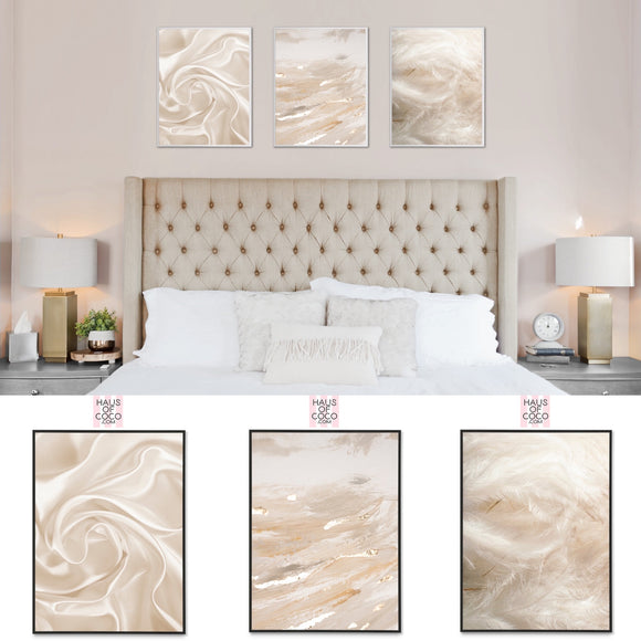 CREAM LUXURY TEXTURE ART SET/3