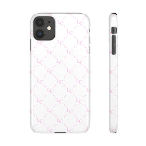 PERSONALISED -  INITIALS -  PINK/WHITE LETTER PATTERN PHONE CASE