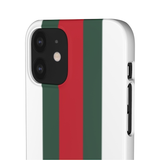 PERSONALISED -  NAME -  GREEN/RED STRIPE - WHITE PHONE CASE