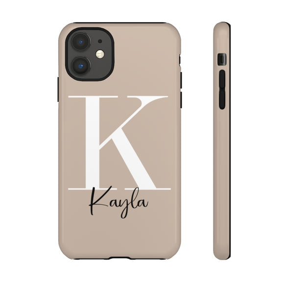 PERSONALISED - NAME -  TAN PHONE CASE