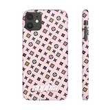 PERSONALISED -  NAME -  BLACK FLOWERS/PINK PHONE CASE