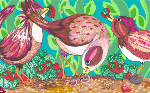 A colourful illustration of three pecking birds by Viv Rosser