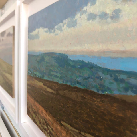 Local Devon Dartmoor landscape by artists Matt Harvey - chalky hues of blue, cream and green layered with a small brush