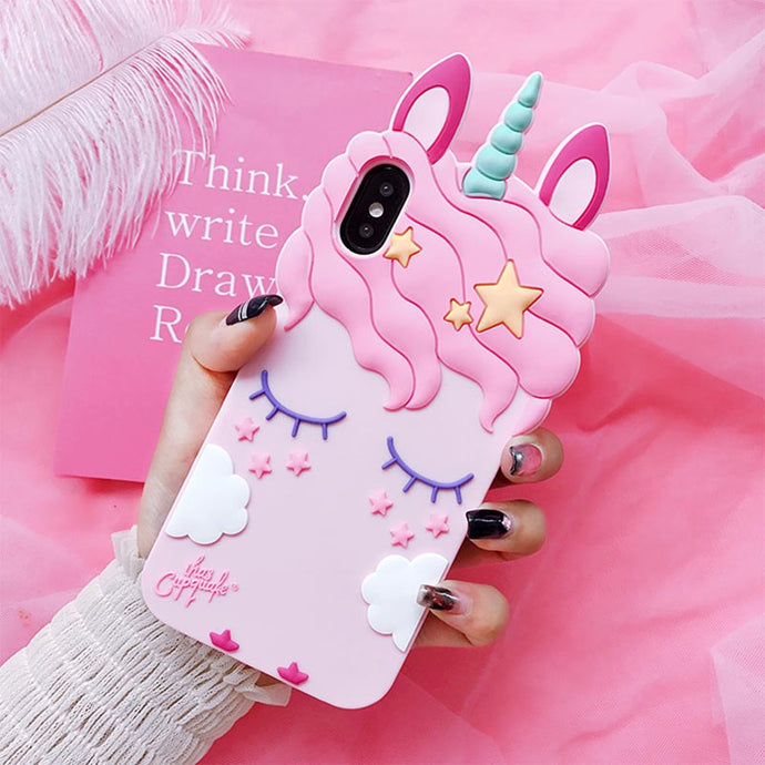 3D Pink Unicorn Soft Silicone Case For Samsung and iPhone