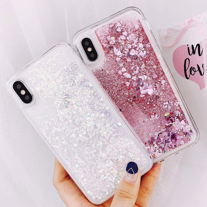 Love Heart Liquid Phone Case For iPhone