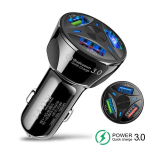 New QC 3.0 Triple USB Universal Car Charger Adapter 3 Port For Cell Phone GPS LED Display Fast Charging for Android