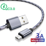2M 3M QC 3.0 Micro Cable Fast Charging USB Cable Quick Charge 3.0 Charger Wire Android Cell Phone Cabo Tablet Smart Devices Line