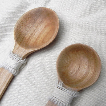 Hand carved cherry birth spoons
