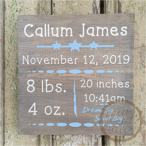 Custom Personalized Baby Gift Stats Wood Sign - 9""