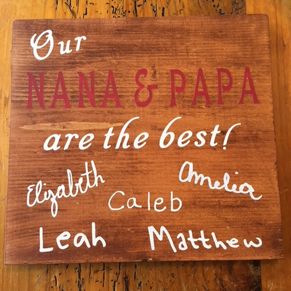 Grandparent wood sign with grandchildren names