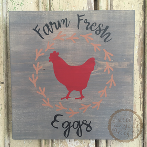 Farm Fresh Eggs Painted Wood Sign & Home Decor