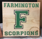 "Custom School Spirit Wood Sign - 12"" or 9"" Square"
