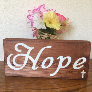 Hope Wood Block Shelf Sign for Office or Home Decor