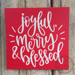 Joyful Merry Blessed Christmas Wood Sign Home Decor