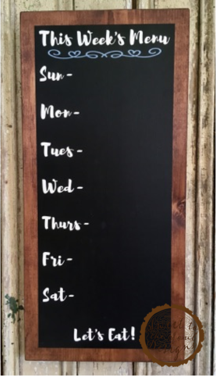 Weekly Menu Chalkboard Wood Sign with Dark Stain - Kitchen Decor