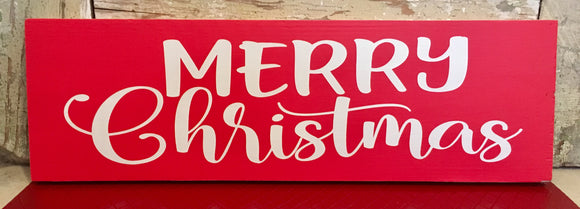 "Merry Christmas Wood Sign - 6""x18"""