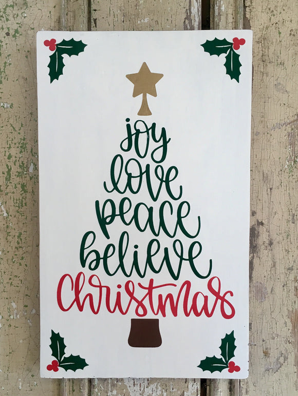 Christmas Word Tree Wood Sign - 8