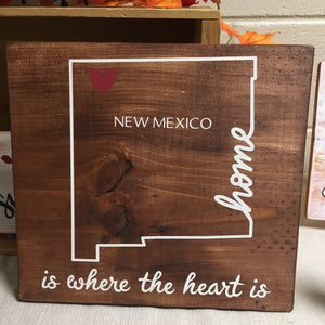 "Home is Where the Heart is New Mexico Home Decor Wood Sign - 12"" Square"