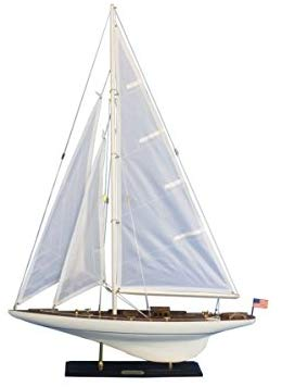 Handcrafted Model Ships Int-R-35 Wooden Intrepid Model Sailboat Decoration - 35 In.