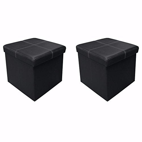 Otto & Ben [2 Piece Set] 15 Inch Line Design Memory Foam Seat Folding Storage Ottoman Bench With Faux Leather, Black