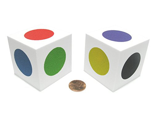 Set Of 2 D6 Jumbo 50Mm Foam Dice With Square Corners - Single Spot Colors Dice