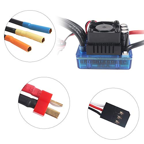 Rcrunning 3650 5200Kv 4P Brushless Motor Shaft 3 175Mm And 80A Esc  (Electric Speed Controller) For 1/10 Rc Car Boat Truck (Blue)