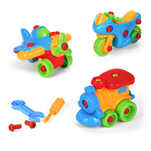 Build A Motorcycle, Airplane And Train, Take Apart Diy Montessori Educational Toy, Skill Learning Puzzle, Little Mechanic, With Screwdriver And Wrench
