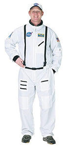 Aeromax Adult Astronaut Suit With Embroidered Cap, White, Large