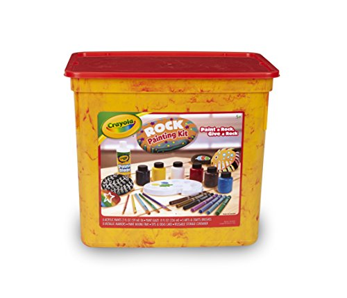 Crayola Rock Painting Art Kit For Kids Includes To Create Intricate Rock Art Projects: Paints, Metallic Markers, Brushes, Paint Mixing Tray &Amp; Finishing Glaze In A Resealable Tub