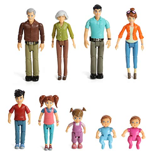 Beverly Hills Doll Collection Tm Sweet Li'L Family Set 9 Action Figures- Grandpa, Grandma, Mom, Dad, Sister, Brother, Toddler, Twin Boy &Amp; Girl- Super Durable &Amp; Updated 2019 Edition