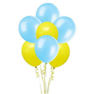 12 Inchs Blue Yellow Latex Balloons,72 Count,Wedding Birthday Party Decor