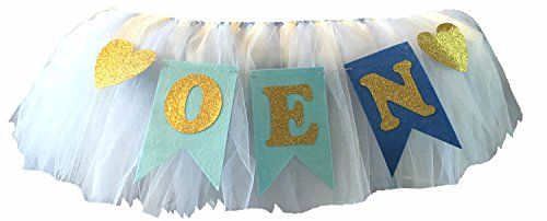 1St Birthday Boy Baby Tutu For High Chair Decoration And One Pennant Happy Highchair