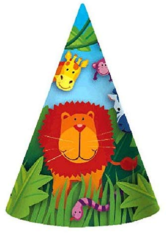 Amscan Colorful Jungle Animals Birthday Party Hats, Multi