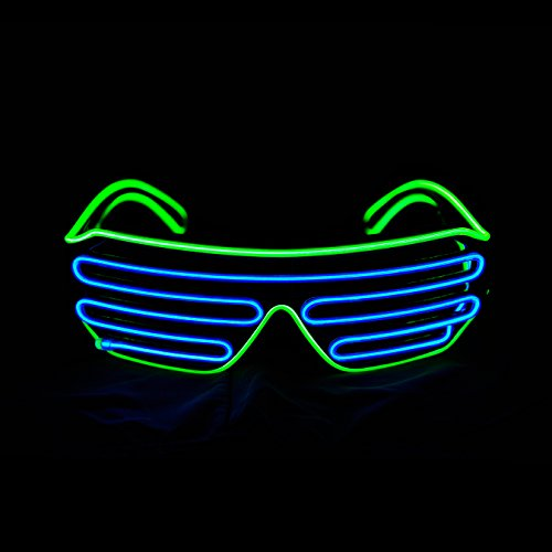 Pinfox Glow Shutter Neon Rave Flashing Glasses El Wire Led Sunglasses Light Up Dj Costumes For Party, 80S, Edm Rb03 (Light Green - Blue)