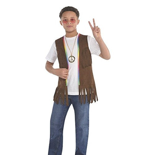 Amscan Groovy 60'S Long Hippie Vest (1 Piece), 14.5  X 9.5 , Brown