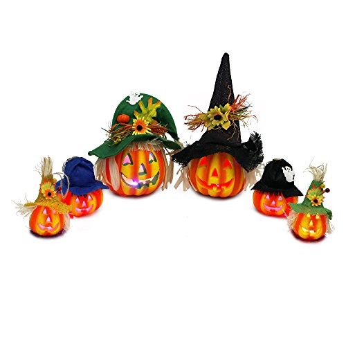 Set Of 6 Light Up Halloween Jack-O'-Lantern Decorative Pumpkin Foam Halloween Decorations Props By Spooktacular Creations
