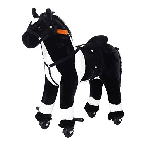 Qaba Kids Plush Ride On Walking Horse With Wheels - Black