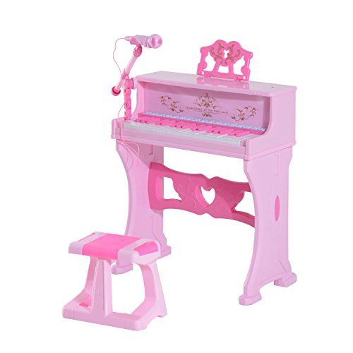 Qaba Kids 37 Key Lovely Princess Electronic Piano Keyboard With Stool And Microphone - Pink