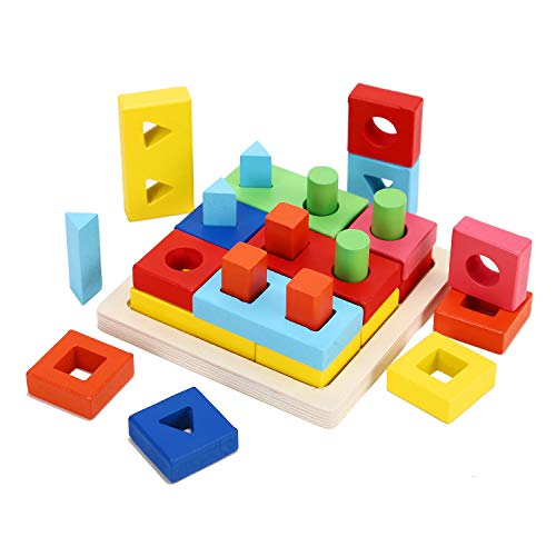 Wondertoys Preschool Wooden Shape Sorter Puzzle Geometric Blocks Stacking Games Educational Toy For 2 3 4 Years Old Toddler Gifts