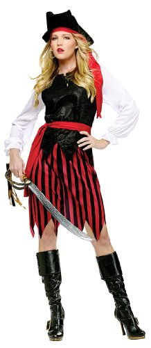 Fun World Womens Caribbean Pirate Lady Halloween Party Dress Costume Red M/L