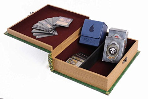 Grimoire Deck Box Primeval Wooden And Fabric Lined Portable Deck Box For Mtg Yugioh And Other Tcg 1000 Card Capacity
