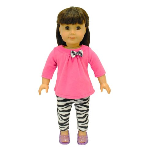 f7d61795b Pink Butterfly Closet Doll Clothes - 2 Piece Clothing Shirt And Zebra Print  Leggings Fits American