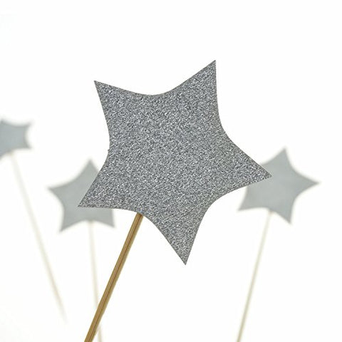 Shxstore Silver Stars Cake Cupcake Topper Picks For Wedding
