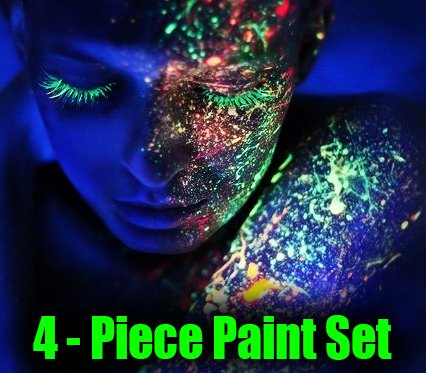 Glow In The Dark Face Paint (Set Of 4 Colors)