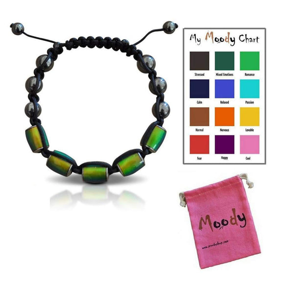 Moody Wish Adjustable Mood Bracelet  Dazzling Shimmer Color Changing Beads Based On Emotions - 12 Rainbow Hues - Kids And Adult - Colorful Pouch Included