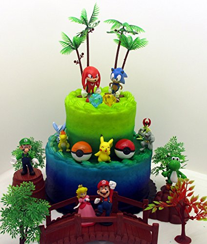 Terrific Video Gaming Themed Birthday Cake Topper Set Featuring Random Funny Birthday Cards Online Inifofree Goldxyz